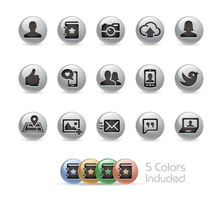 communications: Social Communications Icons -- Metal Round Series