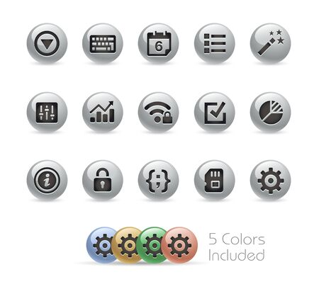 toolbar: Web and Mobile Icons 4 -- Metal Round Series