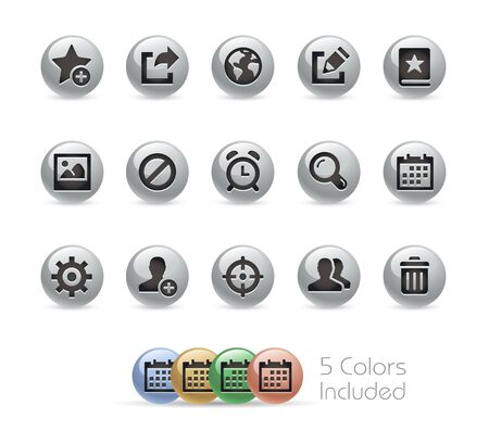 web 2: Web and Mobile Icons 2 -- Metal Round Series