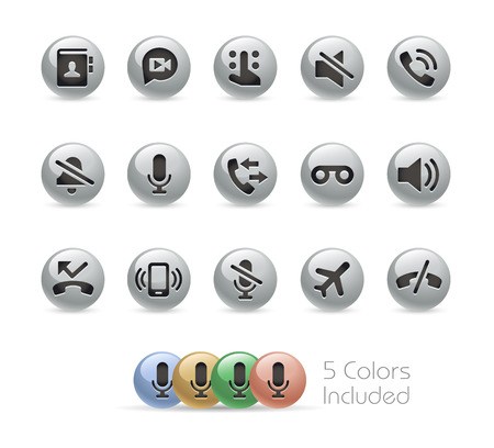 voicemail: Web and Mobile Icons 1 -- Metal Round Series