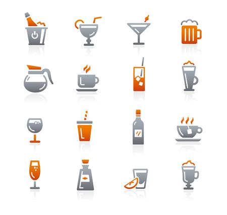 grafito: Bebidas iconos - Serie del grafito Vectores