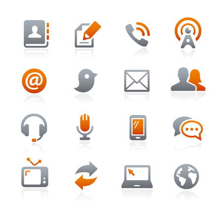 kommunikation: Kommunikation Ikoner - Graphite Series Illustration