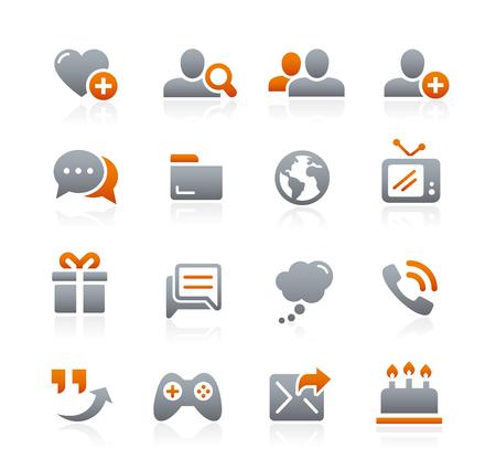 通信: 社会的なコミュニケーション アイコン - 黒鉛シリーズ  イラスト・ベクター素材