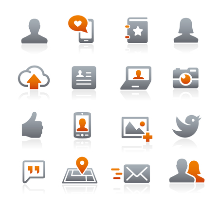 通訊: 社交網絡圖標 - 石墨系列 向量圖像