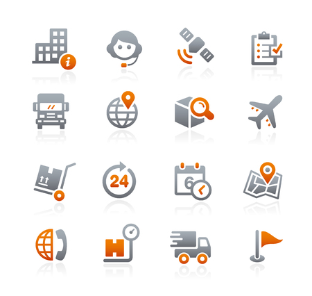 Shipping and Tracking Icons - Graphite Series Illustration
