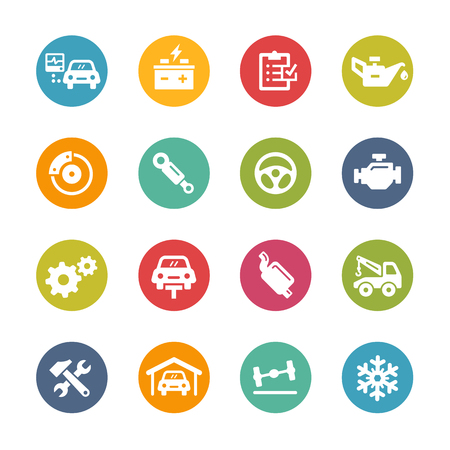 Car Service Icons - Fresh Color Series