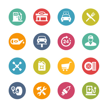 Gas Station Icons - Fresh Color Series Stock Vector - 50637004