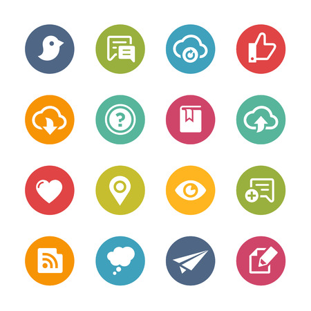 sharing: Web and Mobile Icons 8 - Fresh Color Series Illustration