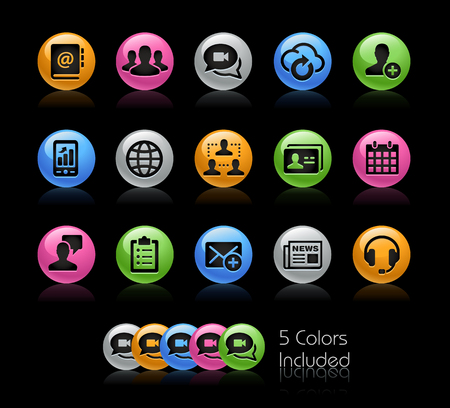 icon series: Business Network Technology Icon set - Gelcolor Series Illustration