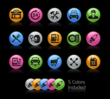 spare part: Gas Station Icon set - Gelcolor Series