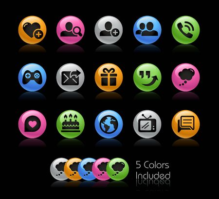 Social Communications Icon set - Gelcolor Series Illustration