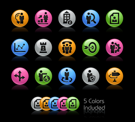 Company Strategy Icons - The vector file Includes 5 color versions in different layers.