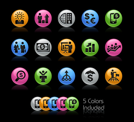 franchising: Business Financial Icons - The vector file Includes 5 color versions in different layers. Illustration