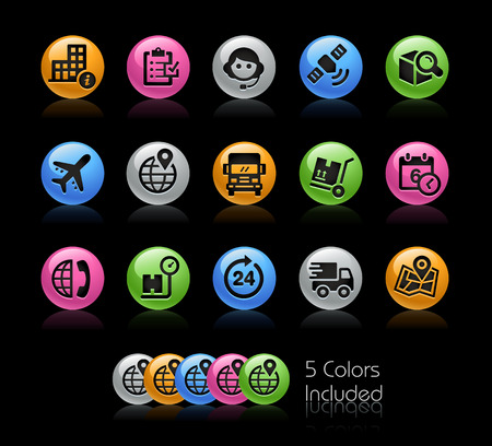 Shipping and Tracking Icons - The vector file Includes 5 color versions in different layers. Illustration