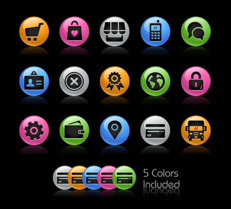 Online Store Icons - The vector file Includes 5 color versions in different layers.