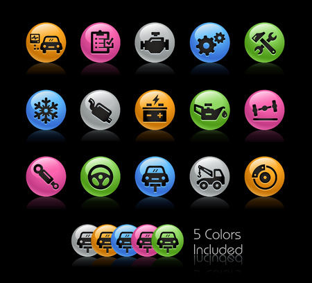 car brake: Car Services Icons - The vector file Includes 5 color versions in different layers.