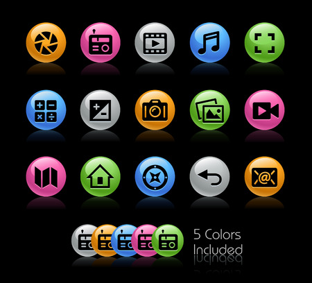 telecommunications technology: Media Interface Icons - The vector file Includes 5 color versions in different layers. Illustration