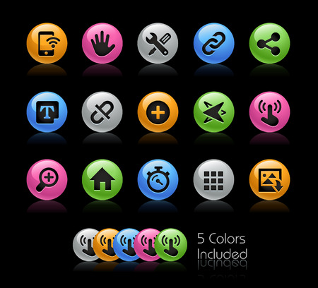 communications tools: System Icons Interface - The vector file Includes 5 color versions in different layers. Illustration