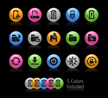 storage compartment: Energy and Storage Icons - The vector file Includes 5 color versions in different layers.