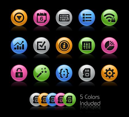 Interface des paramètres système - Le fichier vectoriel comprend 5 versions de couleurs dans différentes couches.