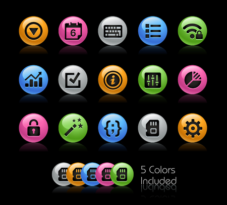memory card: System Settings Interface - The vector file Includes 5 color versions in different layers.