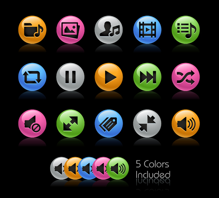 Media Player Icons - The vector file Includes 5 color versions in different layers.