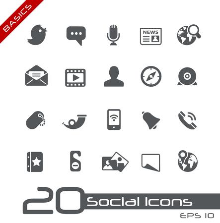 Social Media Icons - Basics Vetores