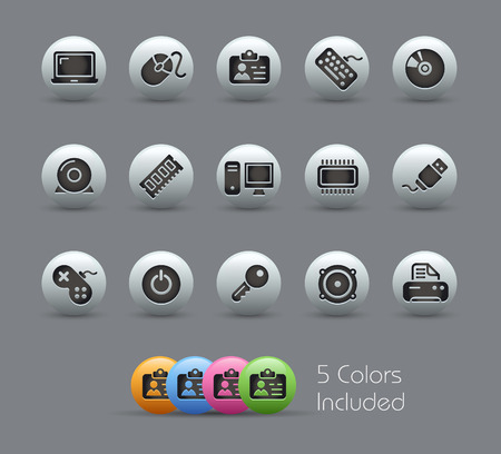 hard drive: Computer and Devices - The vector file includes 5 color versions for each icon in different layers