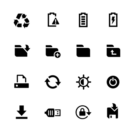 using smartphone: Energy and Storage Icons - Black Series -- Vector icons for your digital or print projects. Illustration