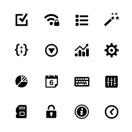 smartphone: System Settings Icons - Black Series -- Vector icons for your digital or print projects. Illustration
