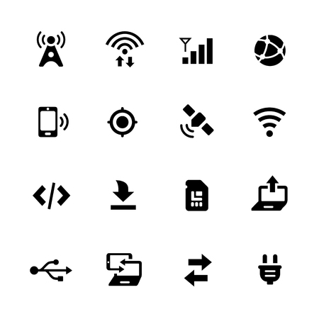 graphical user interface: Connectivity Icons - Black Series -- Vector icons for your digital or print projects. Illustration