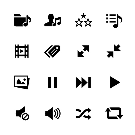 music: Media Player Icons - Black Series -- Vector icons for your digital or print projects.