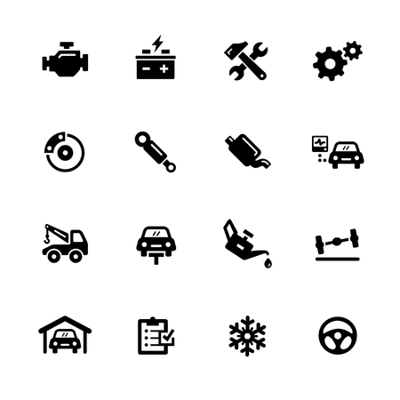 car tire: Car Service Icons - Black Series -- Vector icons for your digital or print projects.
