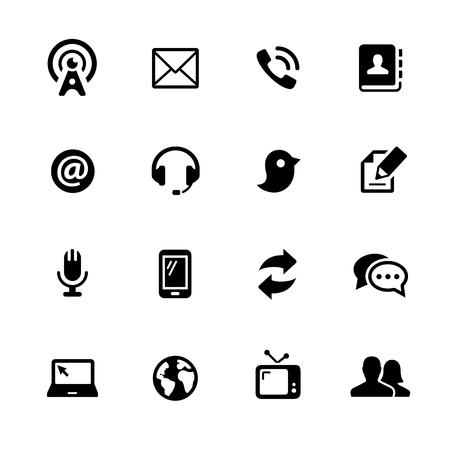 通信: デジタルまたは印刷プロジェクトの通信アイコン - ブラック シリーズ - ベクトルのアイコン。