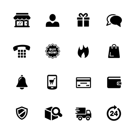digital: E-Shop Icons - Black Series -- Vector icons for your digital or print projects. Illustration