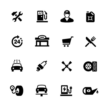 shop sign: Gas Station Icons - Black Series -- Vector icons for your digital or print projects.