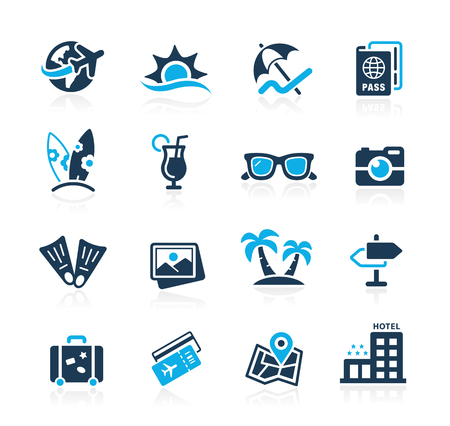 Summer Vacations Icons - Azure Series Illustration