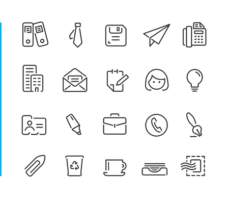 Office & Business Icon Set - Blue Line Series