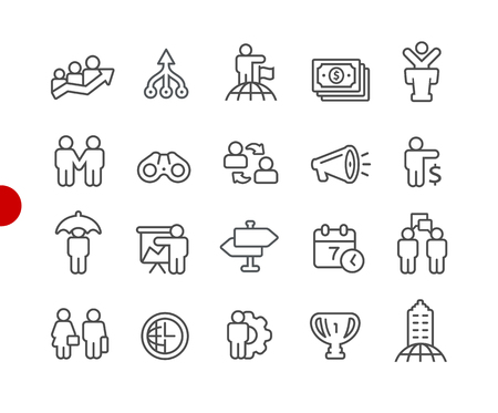 Financial Business Icons -- Red Point Series - Vector line icons for your digital or print projects. 일러스트