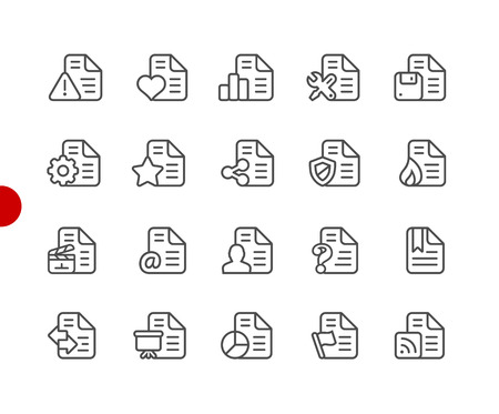 Documents Icons - Set 2 of 2 -- Red Point Series - Vector line icons for your digital or print projects.