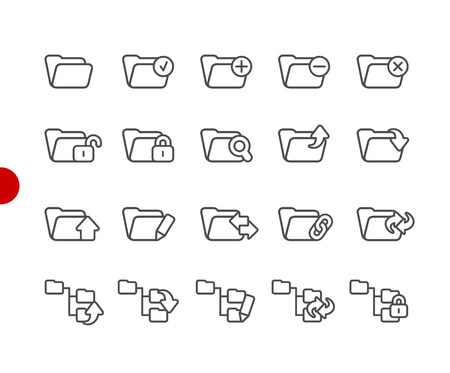 Folder Icons - Set 1 of 2 -- Red Point Series - Vector line icons for your digital or print projects.
