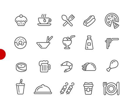Food Icons - Set 2 of 2 -- Red Point Series - Vector line icons for your digital or print projects.