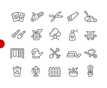 Garden and Gardening Icons -- Red Point Series - Vector line icons for your digital or print projects. Illustration
