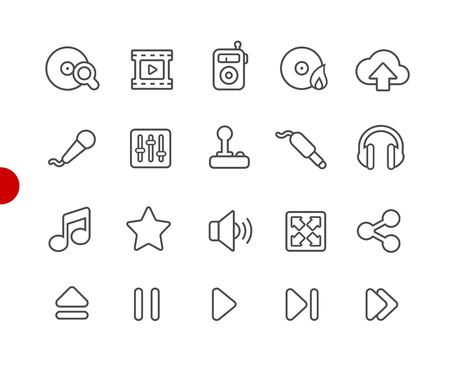 Media Player Icons -- Red Point Series - Vector line icons for your digital or print projects.