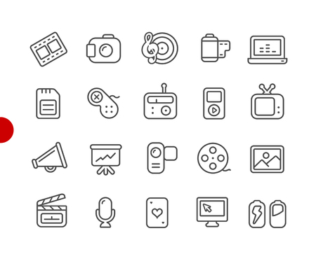 Multimedia Icons -- Red Point Series - Vector line icons for your digital or print projects.