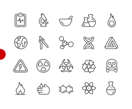 Science Icons -- Red Point Series - Vector line icons for your digital or print projects. Illustration