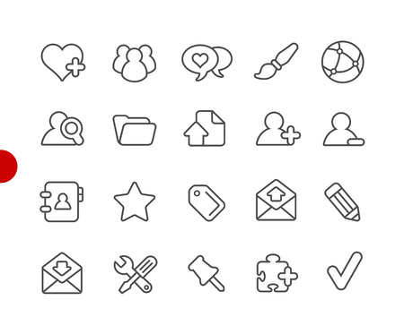 Blog Icons -- Red Point Series - Vector line icons for your digital or print projects.