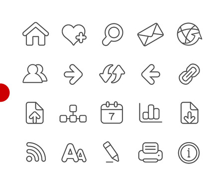 Web Navigation Icons -- Red Point Series - Vector line icons for your digital or print projects.