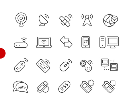 Wireless Icons -- Red Point Series - Vector line icons for your digital or print projects. Ilustrace