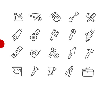 Tools Icons  Red Point Series - Vector line icons for your digital or print projects